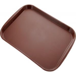 Поднос прорезиненный коричневый прямоуг 41*30 см 1216