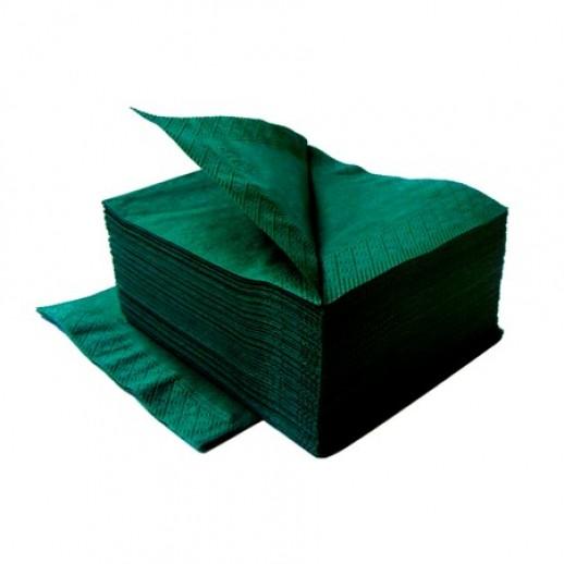 ЛАЙМ Салфетки 24*24 1-сл 400 шт темно-зеленые 10/уп 410600, Бумажные салфетки