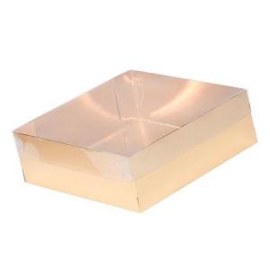 Упаковка для пирожных с пластиковой крышкой 250*150*70 мм золото/белая 070272