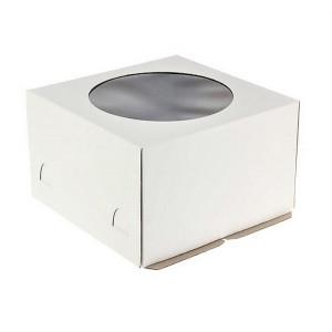 Короб картонный 24*24*20 см БЕЛЫЙ прозрачное окно 6016