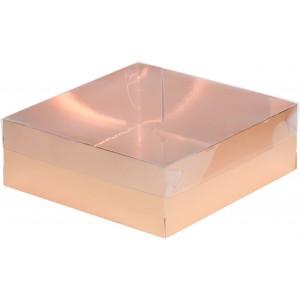 Упаковка для печенья и зефира с окном золото 200*200*70 мм 070230